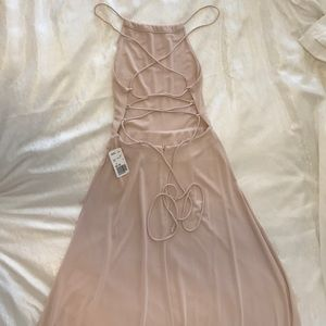 Crisscross back taupe maxi dress